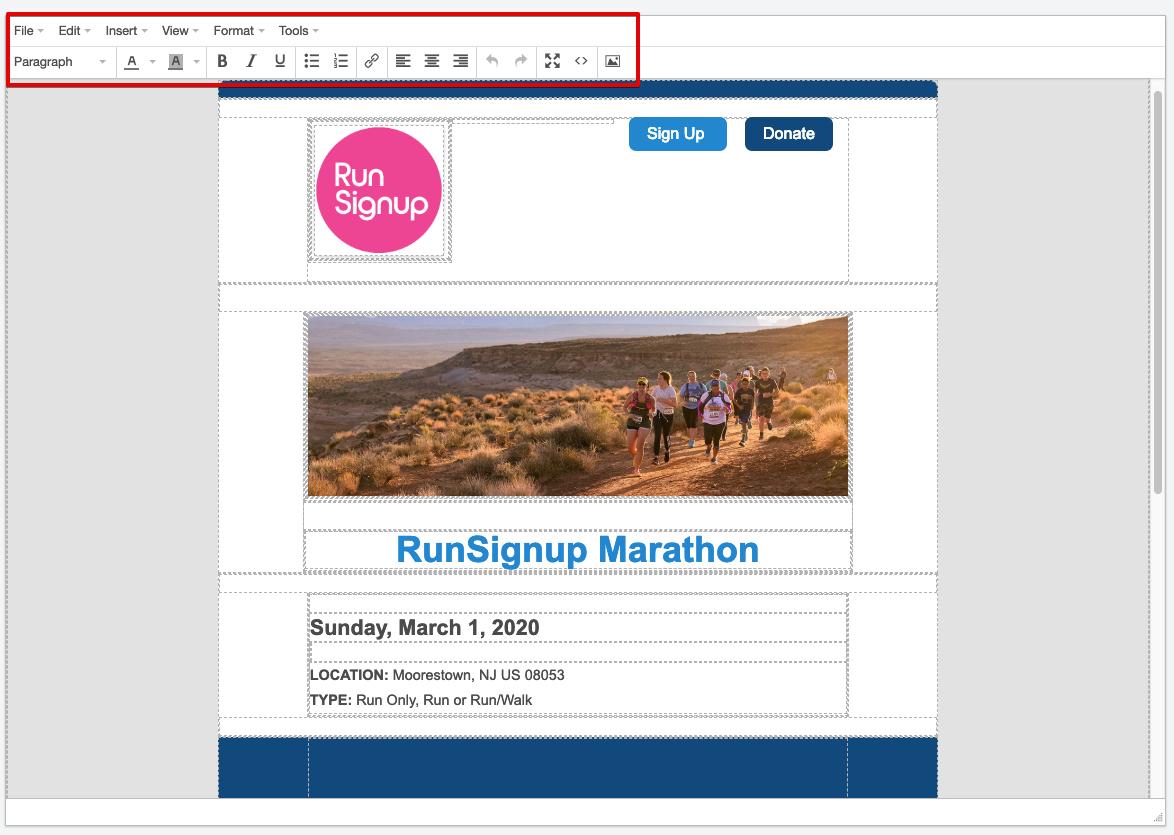 RunSignup email marketing