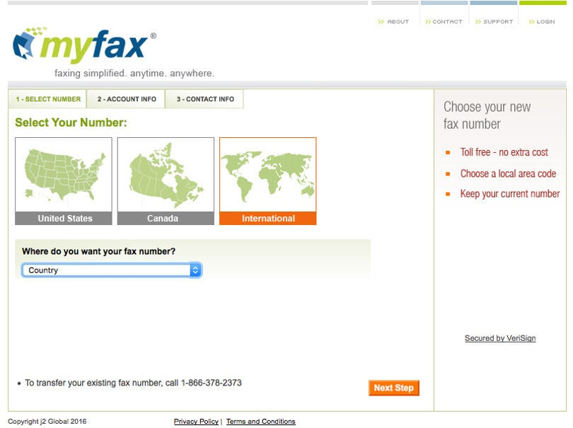 MyFax Software - MyFax fax number selection