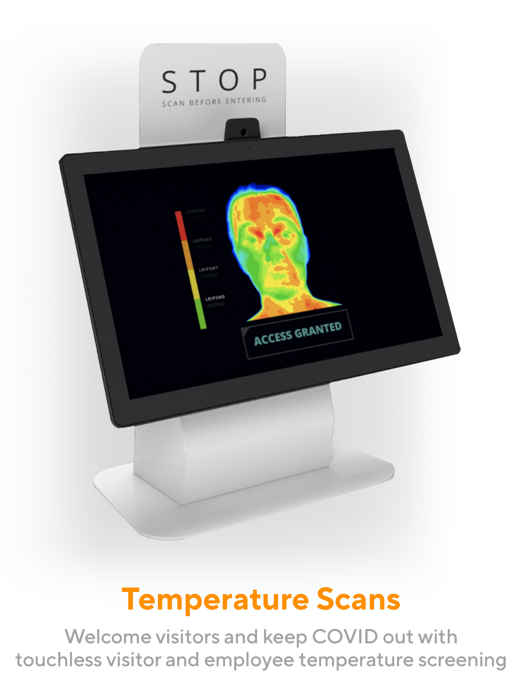 Keep your workplace safe from COVID and other illnesses. In addition to no-touch visitor check-in, Greetly offers thermal temperature scans to ensure visitors and employees meet your health and safety protocols before entering.
