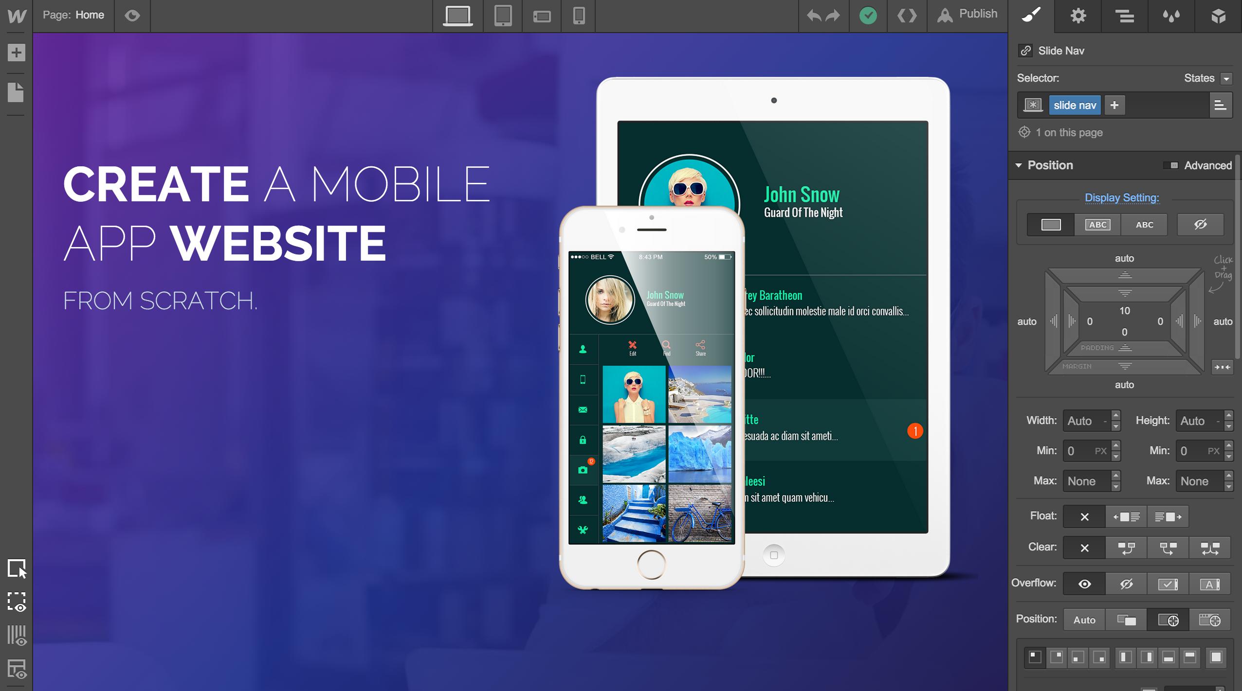 Webflow screenshot: In the Designer