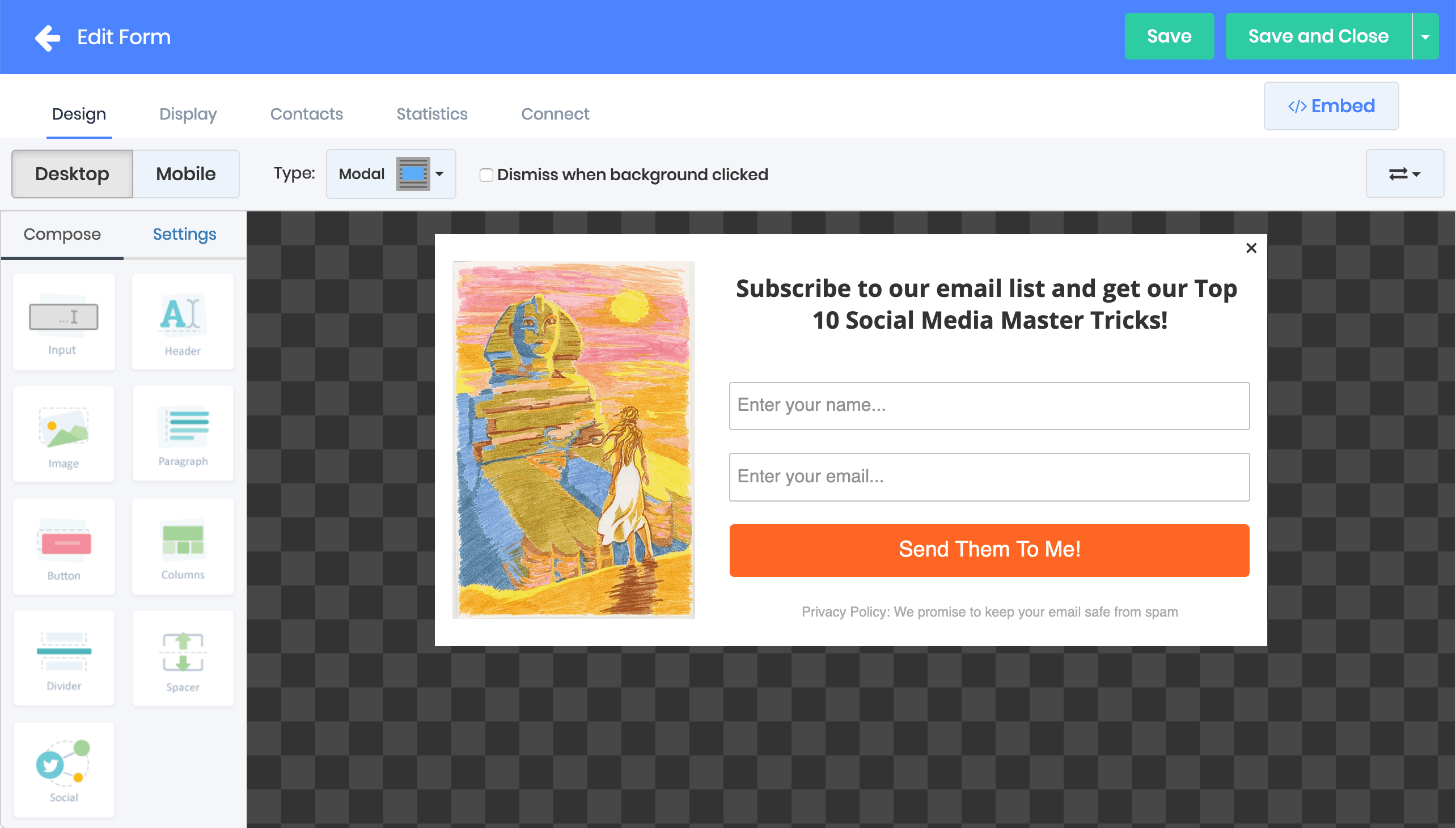 EmailDelivery.com allows users to create custom signup forms