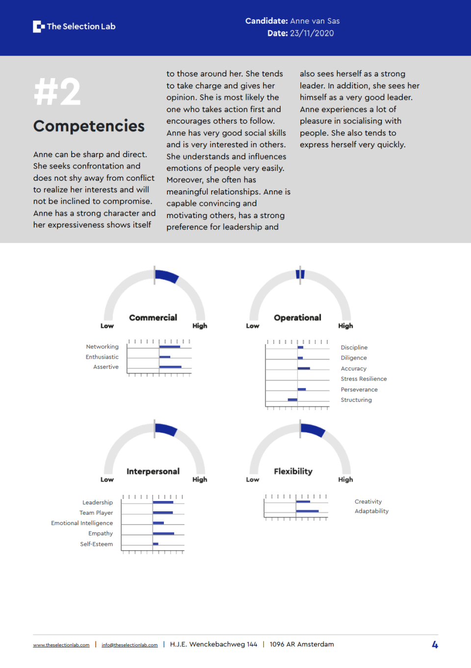 Competencies section