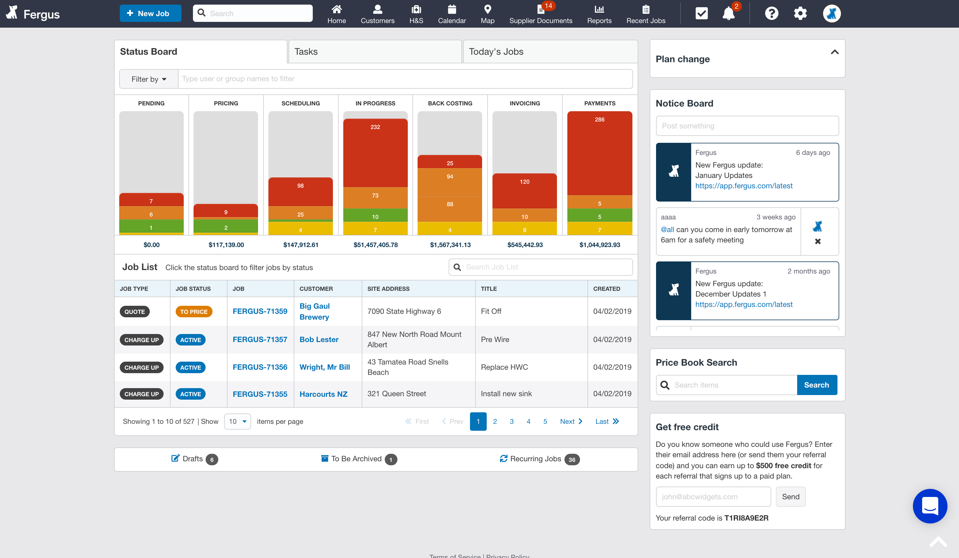 Fergus screenshot: The dashboard shows you the status of all of your jobs and how much revenue is sitting in each section. Click on a subsection to see all of the jobs sitting within it in the job list below.