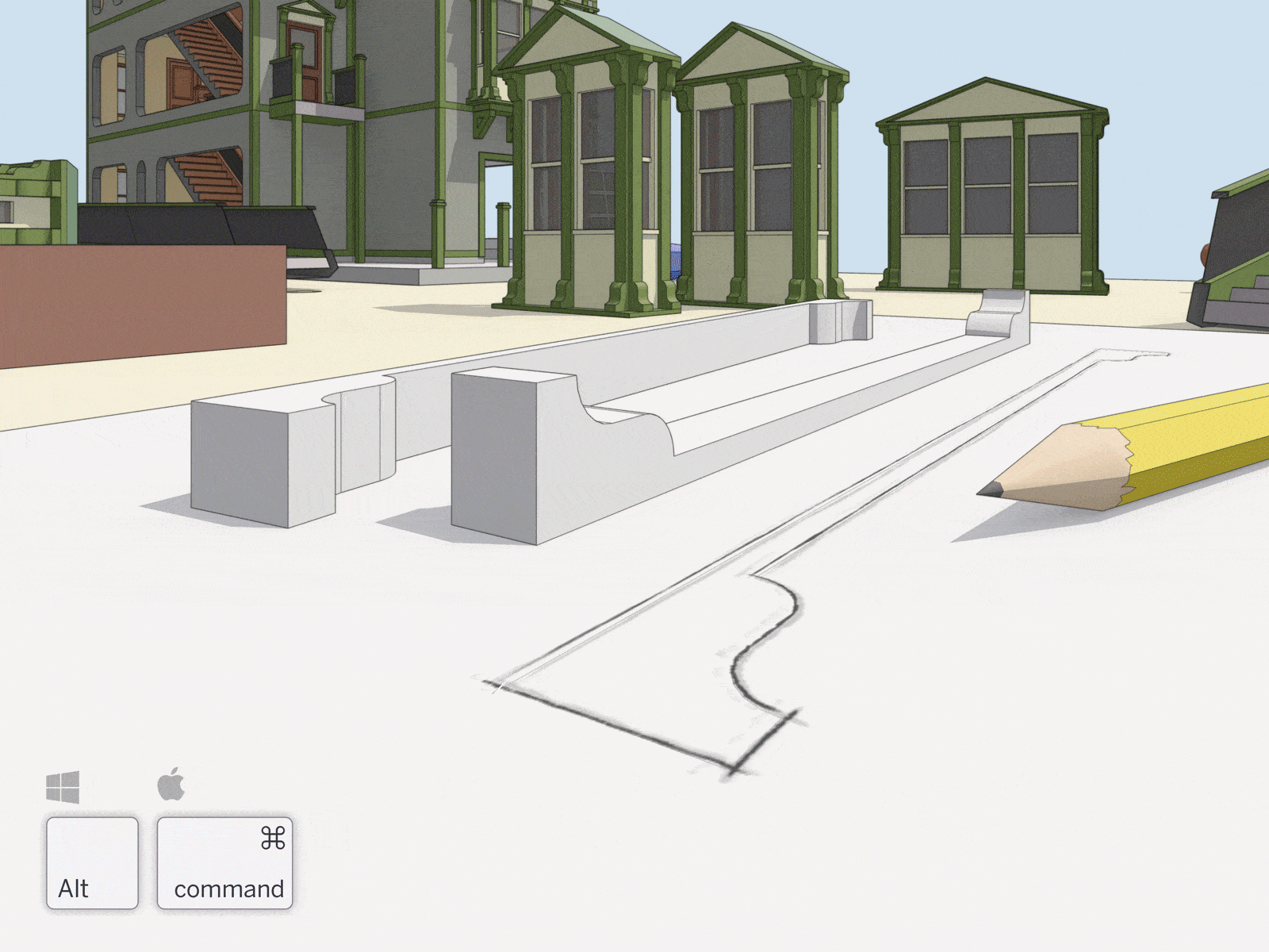 SketchUp's desktop modeler is designed to behave like your hand, so you can draw and extrude geometry quickly.