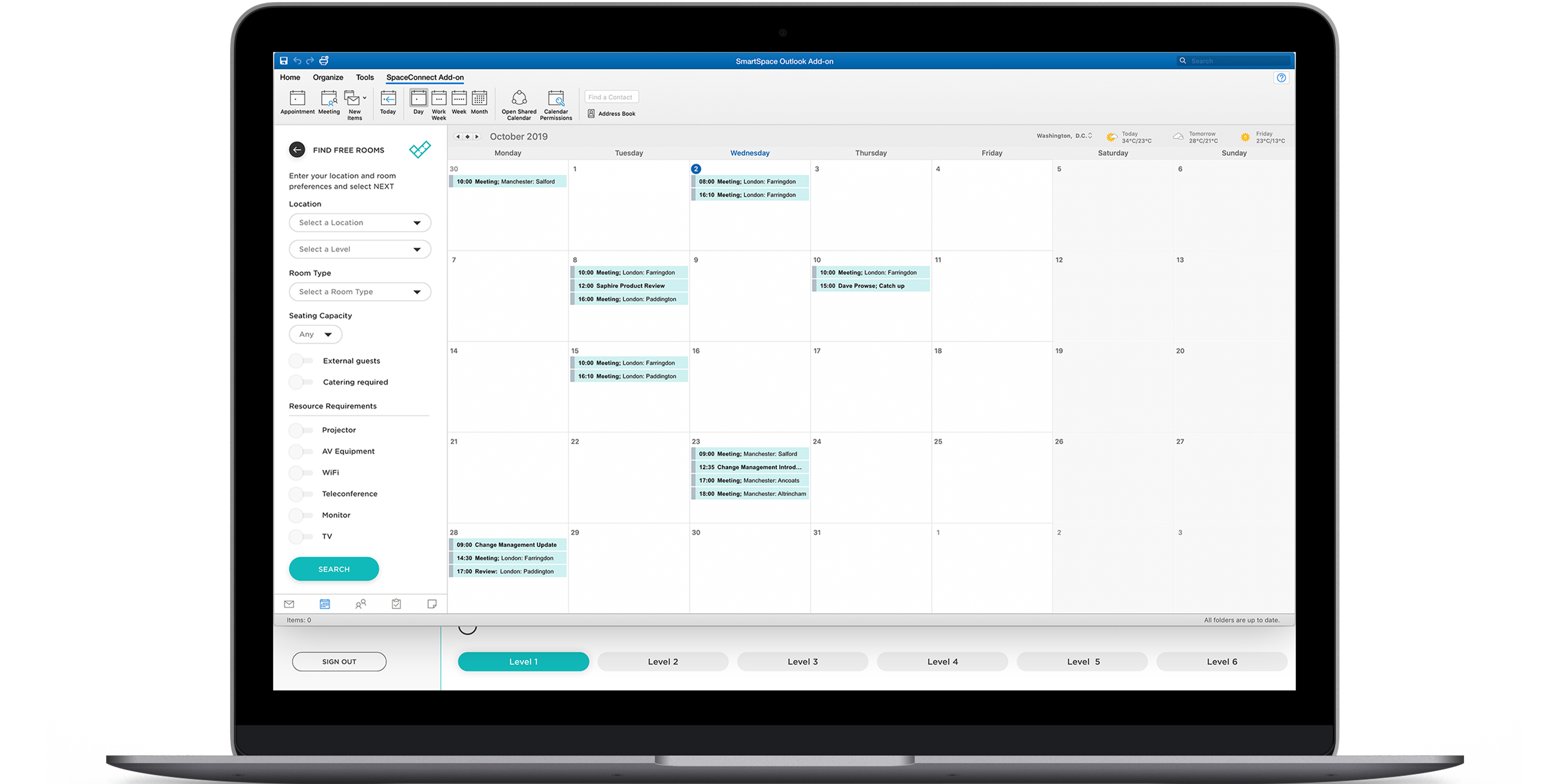 Space Connect Outlook calendar plug-in