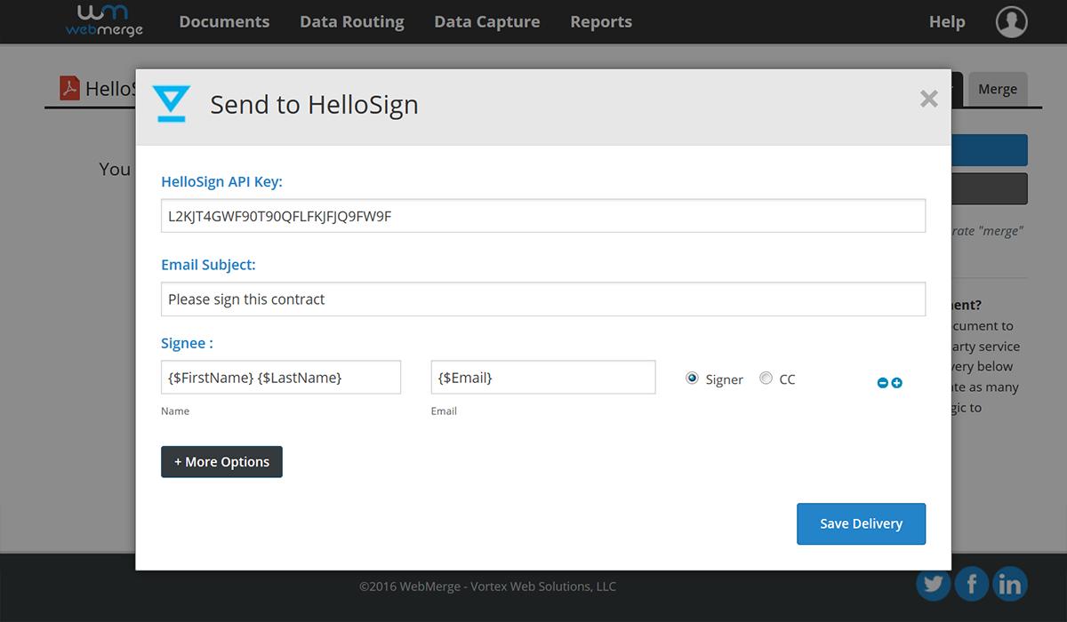 HelloSign API integration with WebMerge