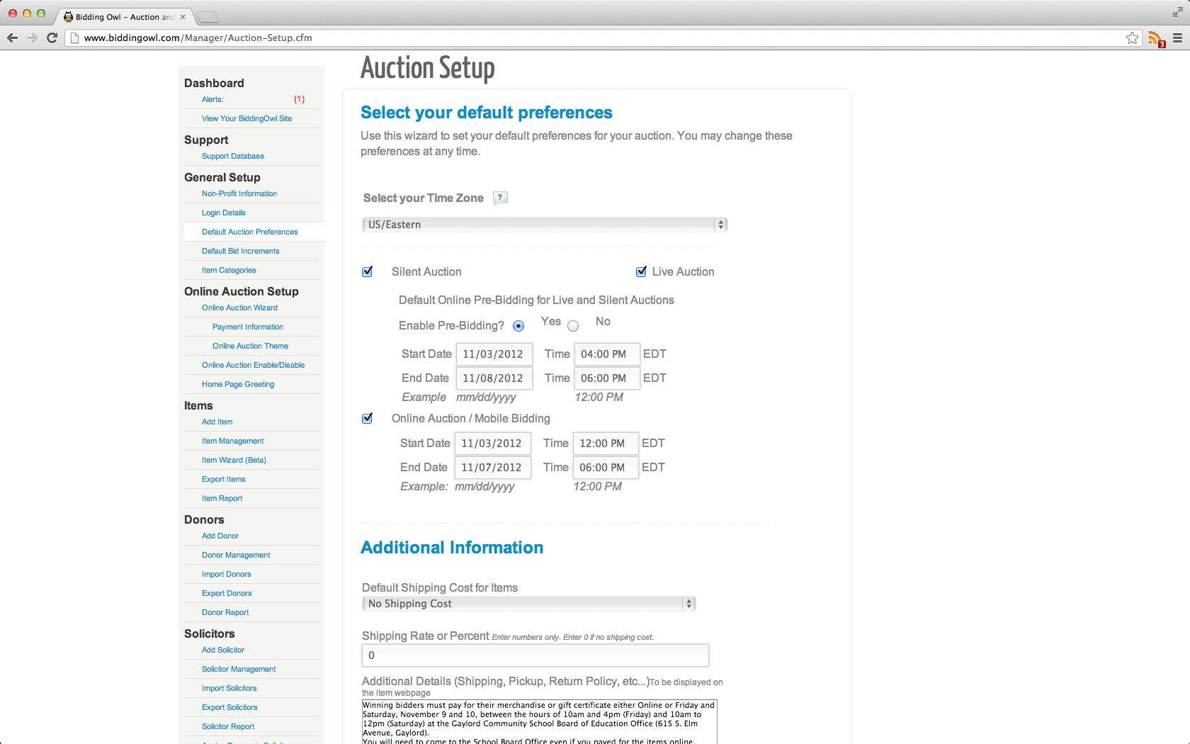 BiddingOwl auction setup