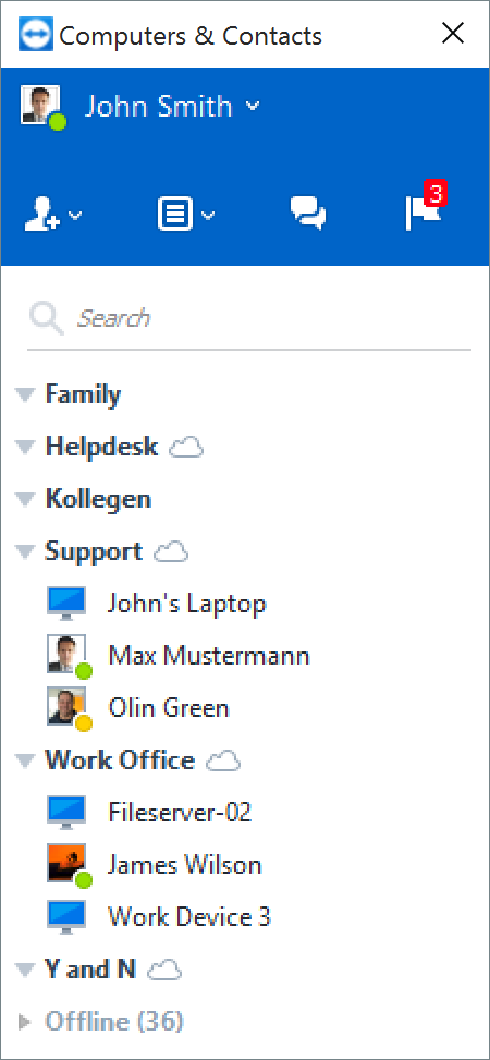 Connect to people and devices with the TeamViewer Computers and Contacts list