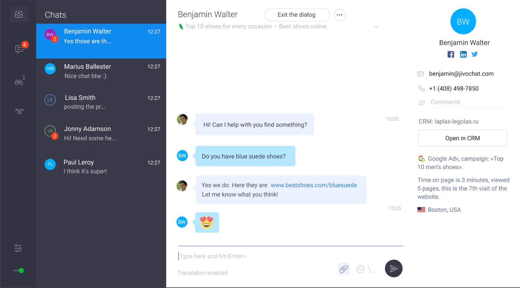 JivoChat Software - JivoChat chats