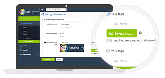Add any brand or custom logo to TapAnalytics