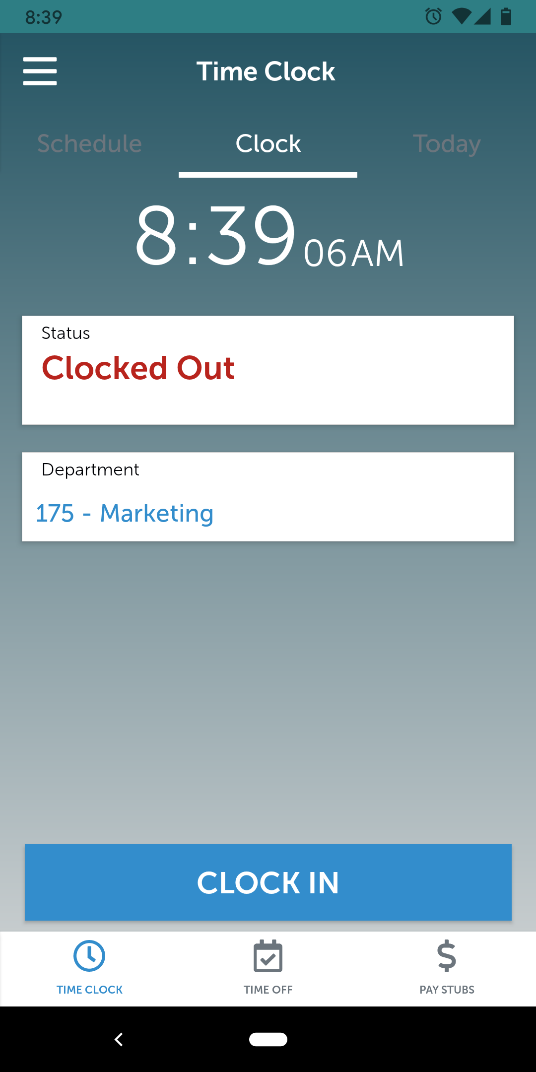 APS Mobile app - employee time clock