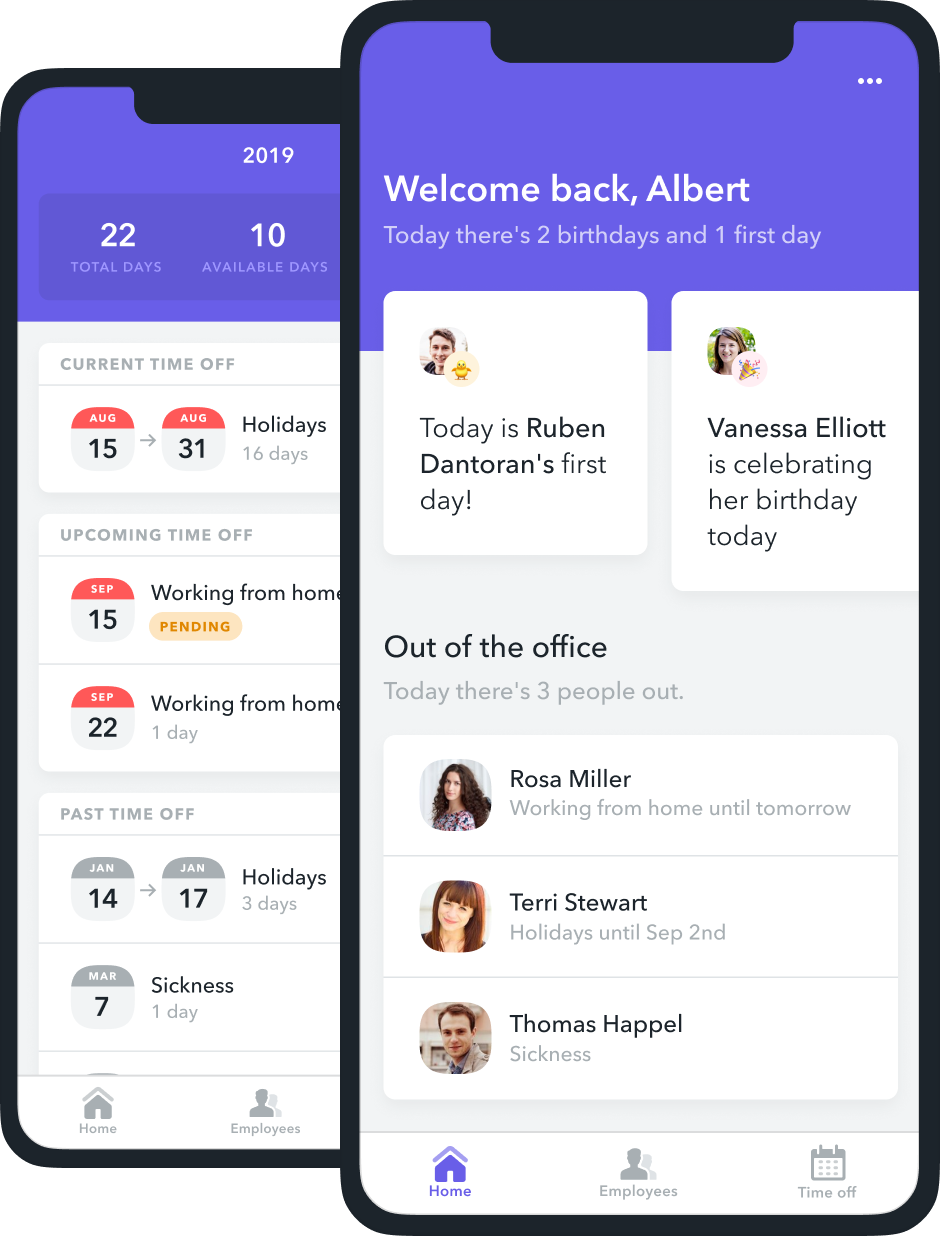 Factorial's mobile app makes it easy to clock in and out, check upcoming time off, and stay on top of company news.