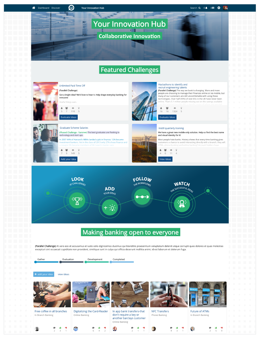 Wazoku screenshot: Your Idea Spotlight Homepage with drag and drop sections, custom styling and layout to build an engaging and intuitive ideas hub