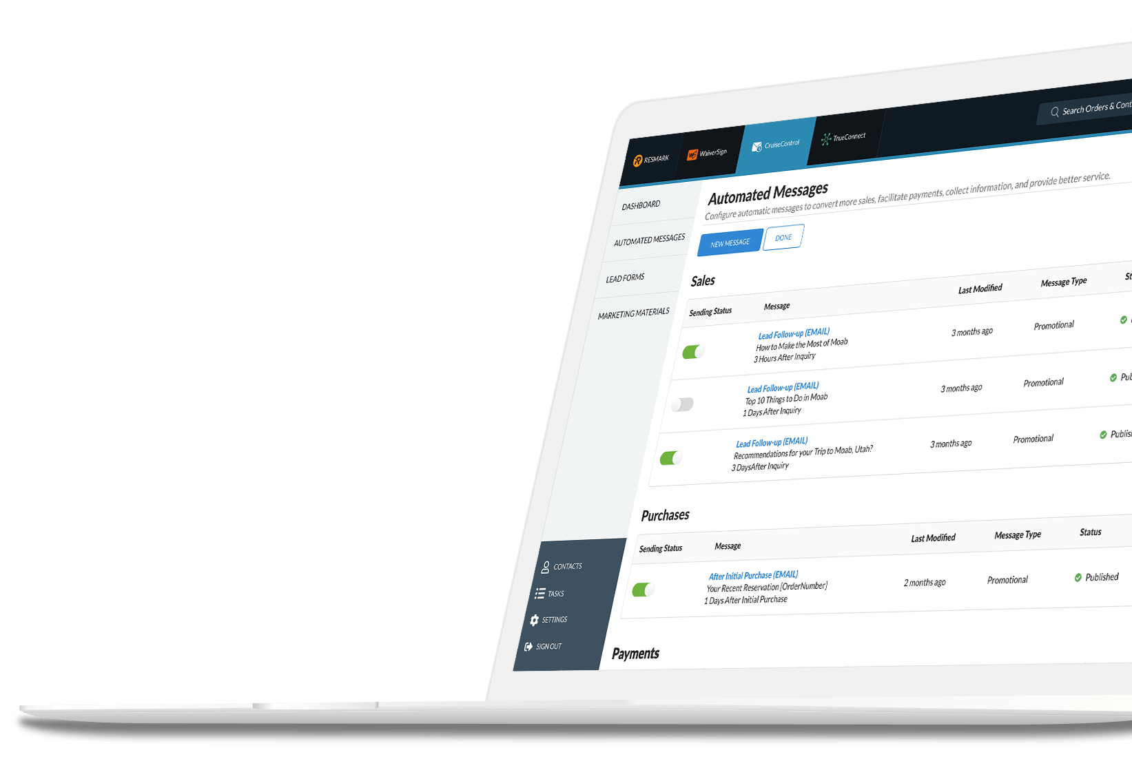 RESMARK automated emails dashboard.