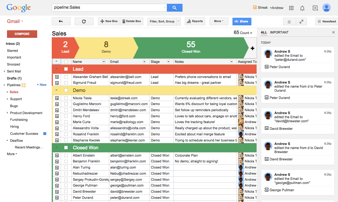 Your pipeline is viewable right within Gmail