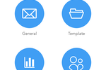 AlertMedia screenshot: AlertMedia Pro app general, template, survey and voice conference options