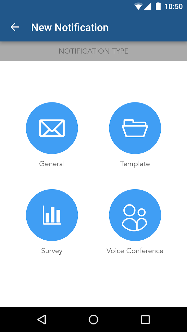 AlertMedia Pro app general, template, survey and voice conference options