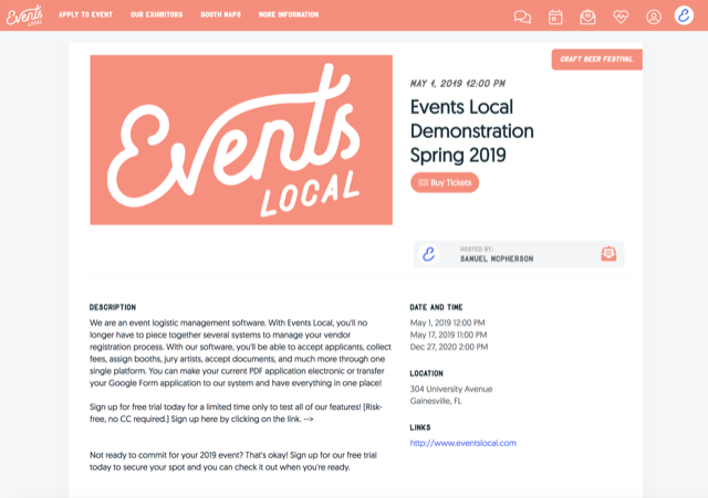 Event information page