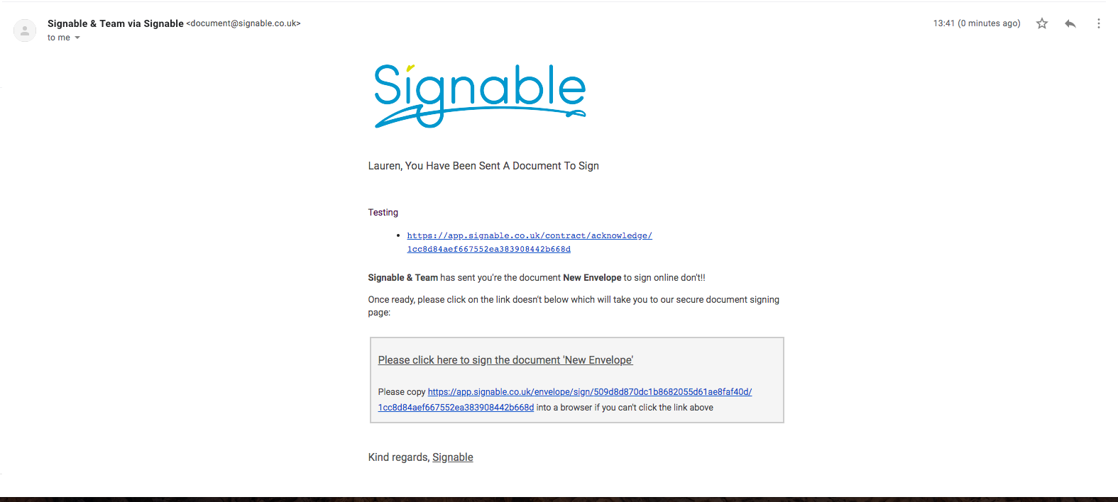 Signable Software - Email notification