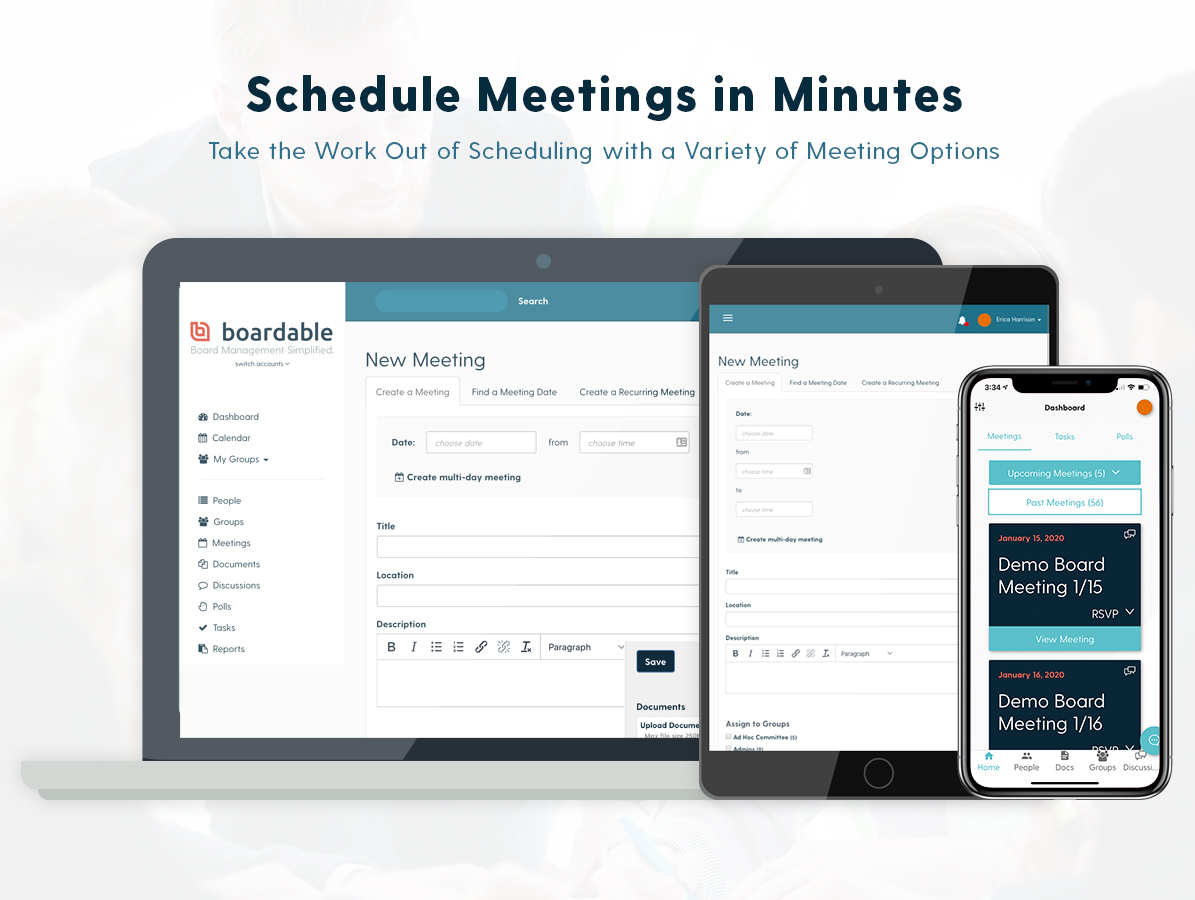 Protect your board from liability and inefficiency with our Minutes Maker tool. Document meetings as they progress. Use the agenda you already built to not miss a single detail. Publish meeting minutes as a PDF.
