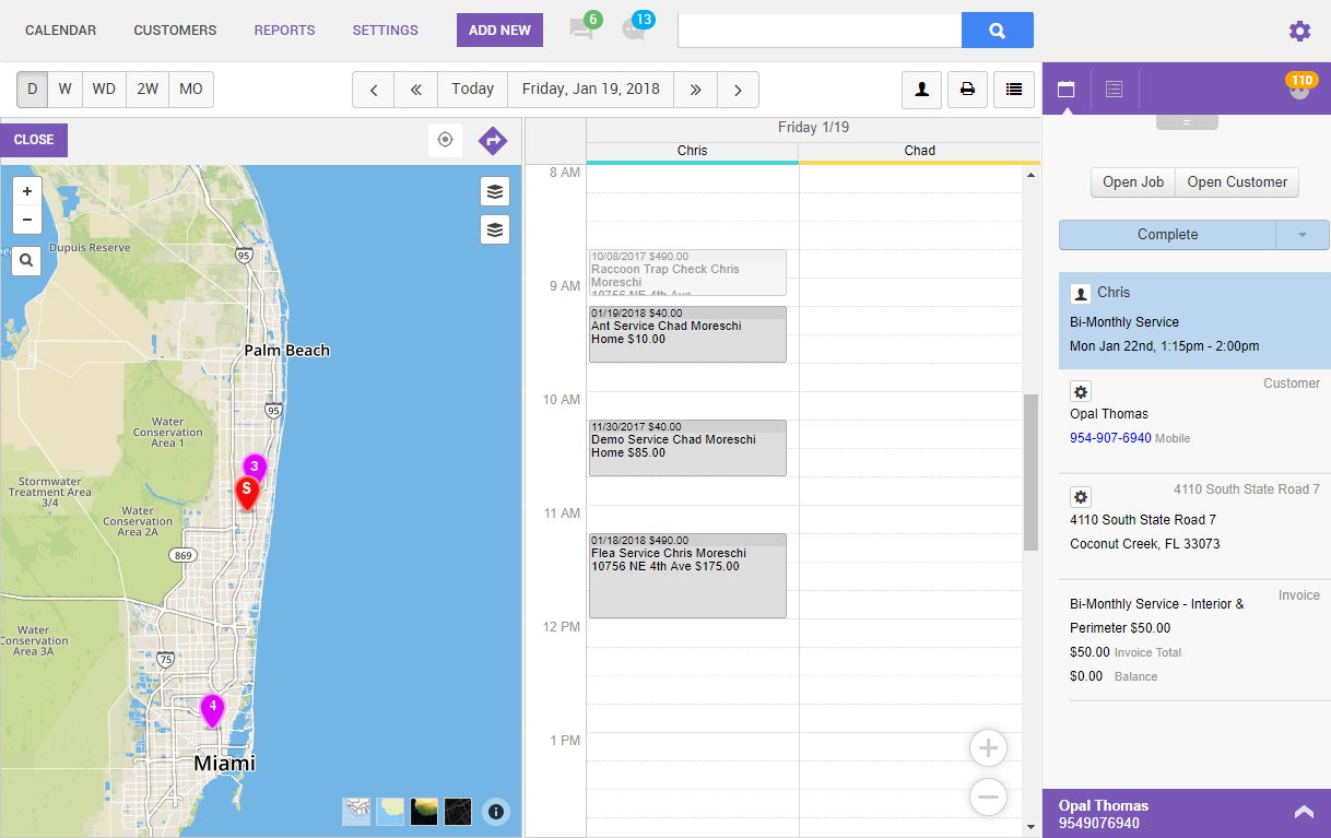 GorillaDesk screenshot: Field employees can view upcoming jobs on their calendar with a location map and appointment details