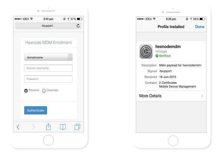 Hexnode mobile enrollment