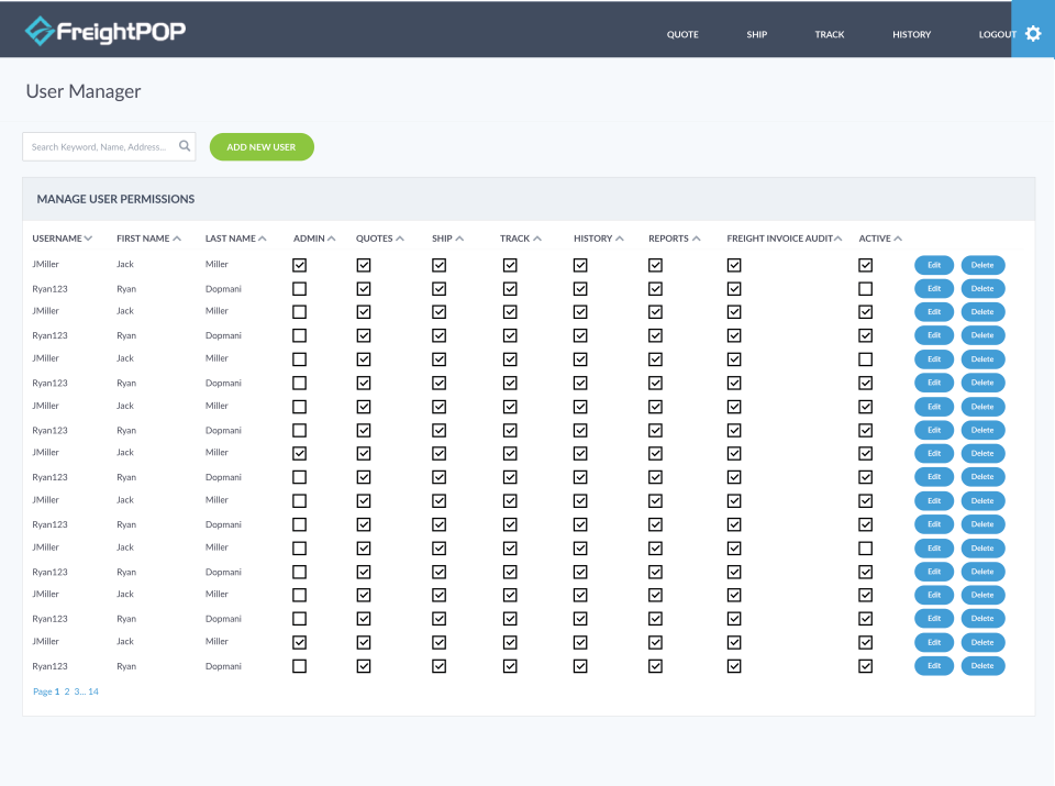 The User Manager screen allows FreightPOP user permissions to be managed