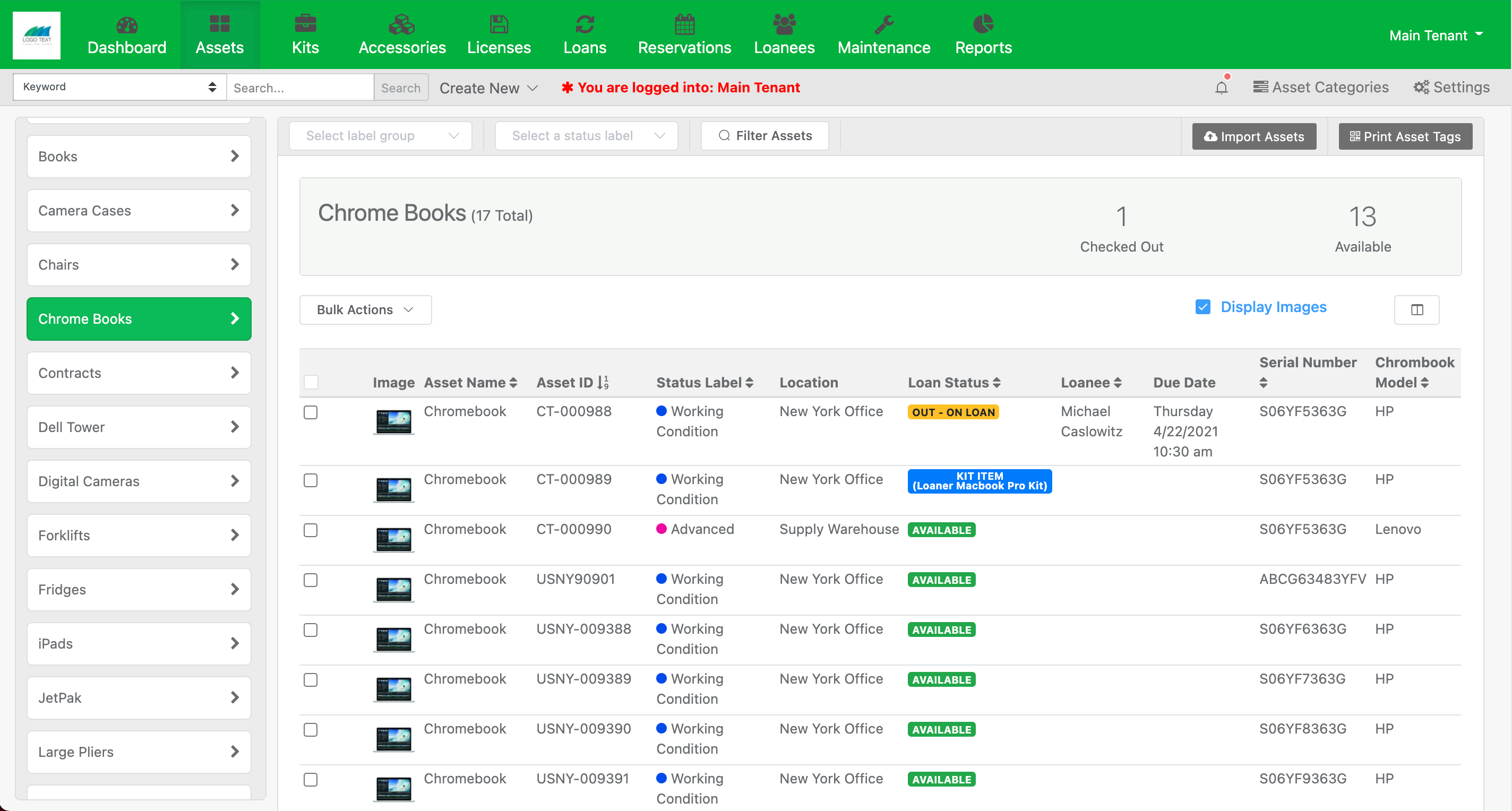 Assets are neatly displayed in organized categories