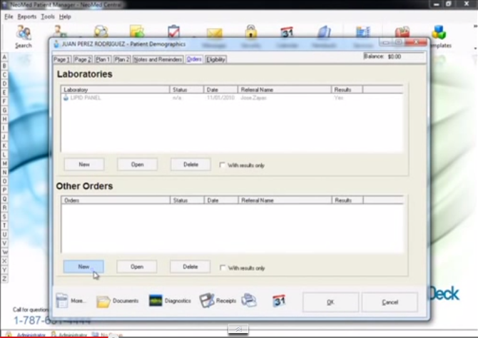 NeoMed EHR Software - Lab results
