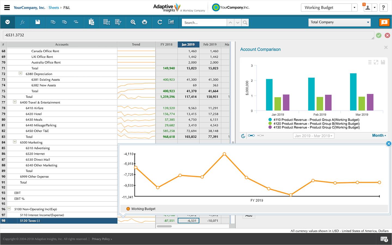 Adaptive Planning screenshot: Workday Adaptive Planning analytics