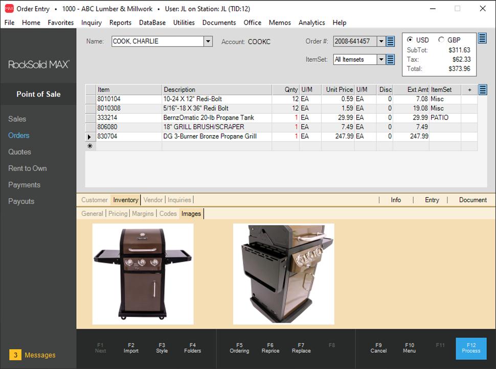RockSolid MAX screenshot: RockSolid MAX POS transactions