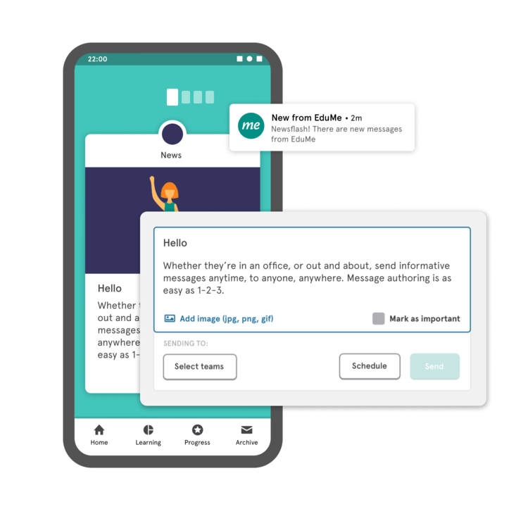 Send instant messages and notifications to different teams and locations