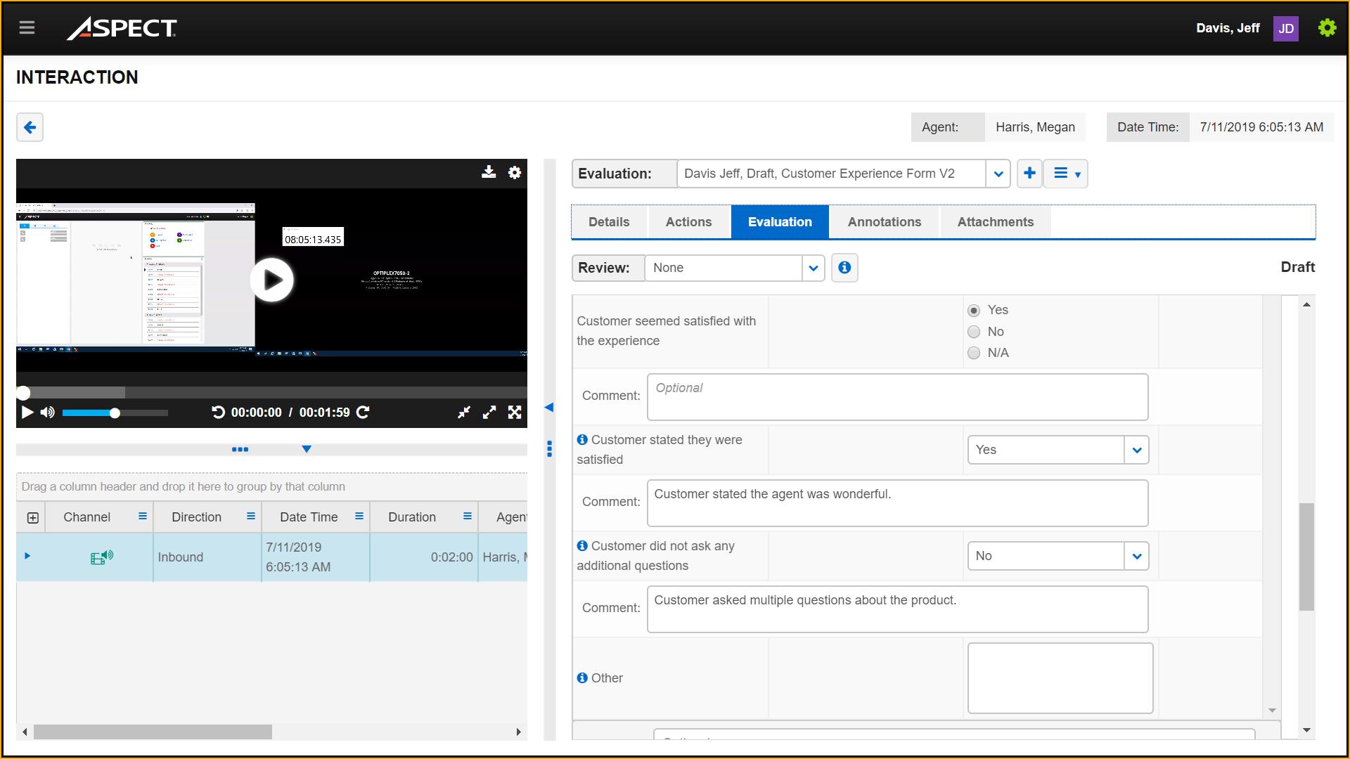Aspect Quality Management screenshot