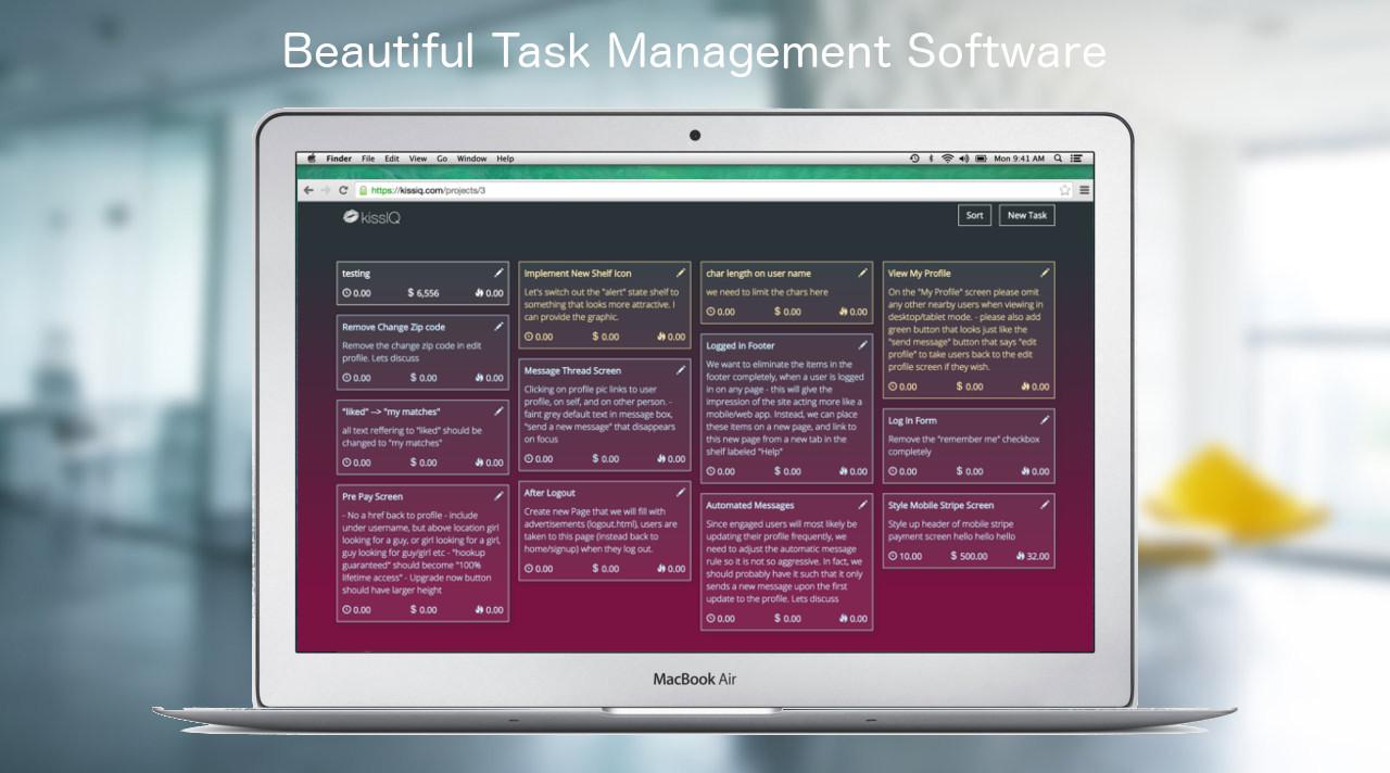kissIQ screenshot: KissIQ.com - Instant insight into your projects, expenses, tasks, and time.