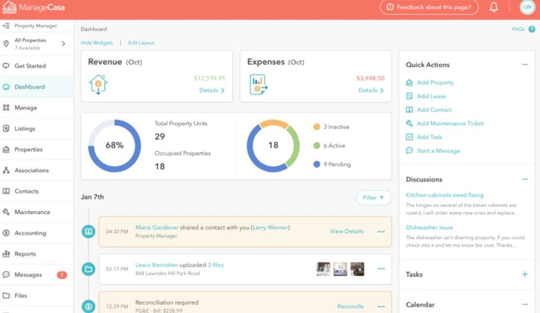 ManageCasa dashboard