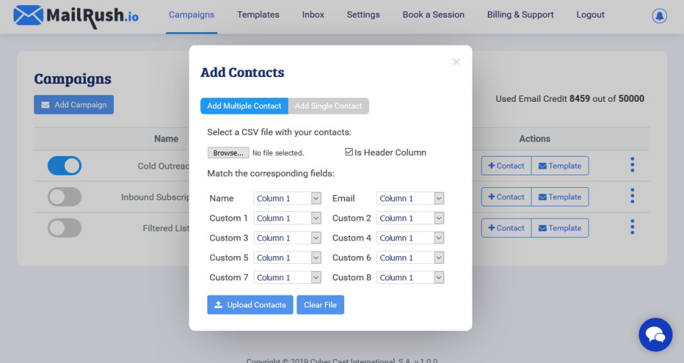 MailRush.io Software - Import Contacts