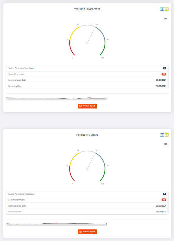 Sorwe Cockpit Page - You can follow 10 different workplace indexes real time here: Motivation, Evolution, Healthy Life, Team Effectiveness, Confidence Environment and many more!