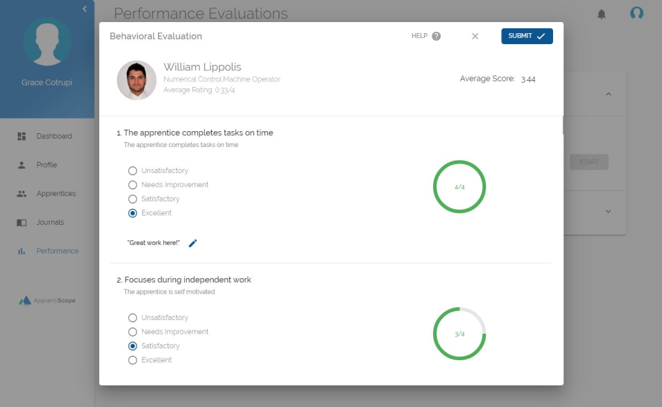 ApprentiScope Software - Performance Evaluations