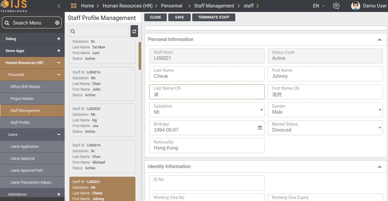 IJS HR staff profile management
