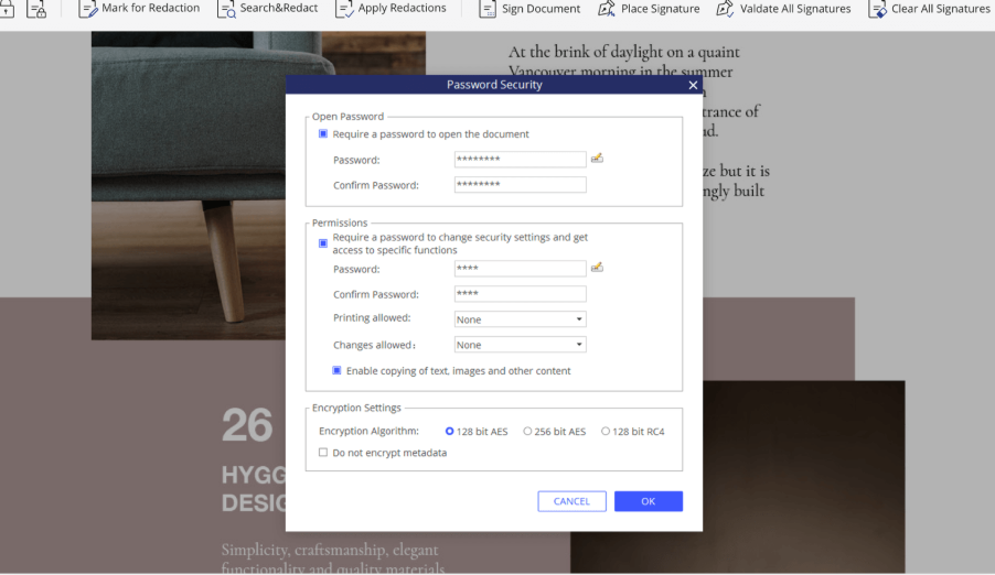 Password protecting feature to give control to specific employees with granted access