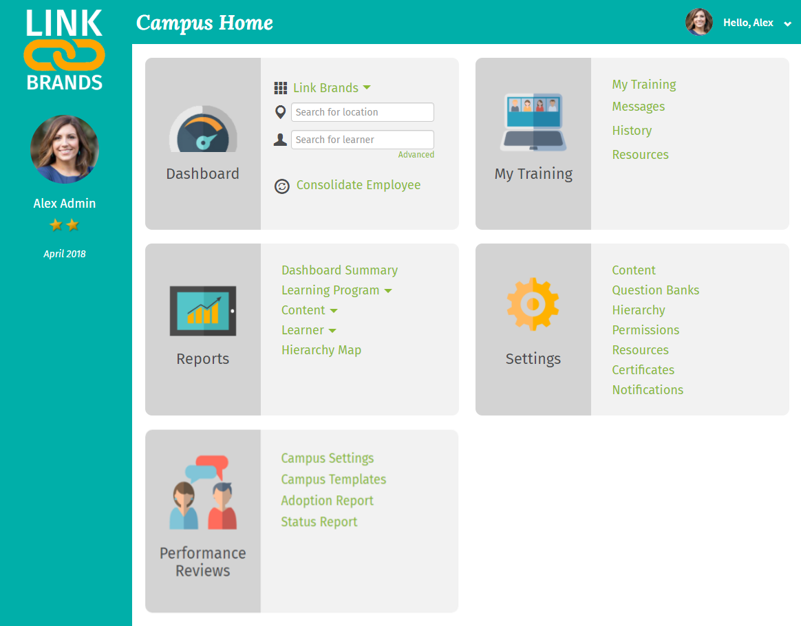 DiscoverLink Talent LMS Software - Campus Home - Admin View