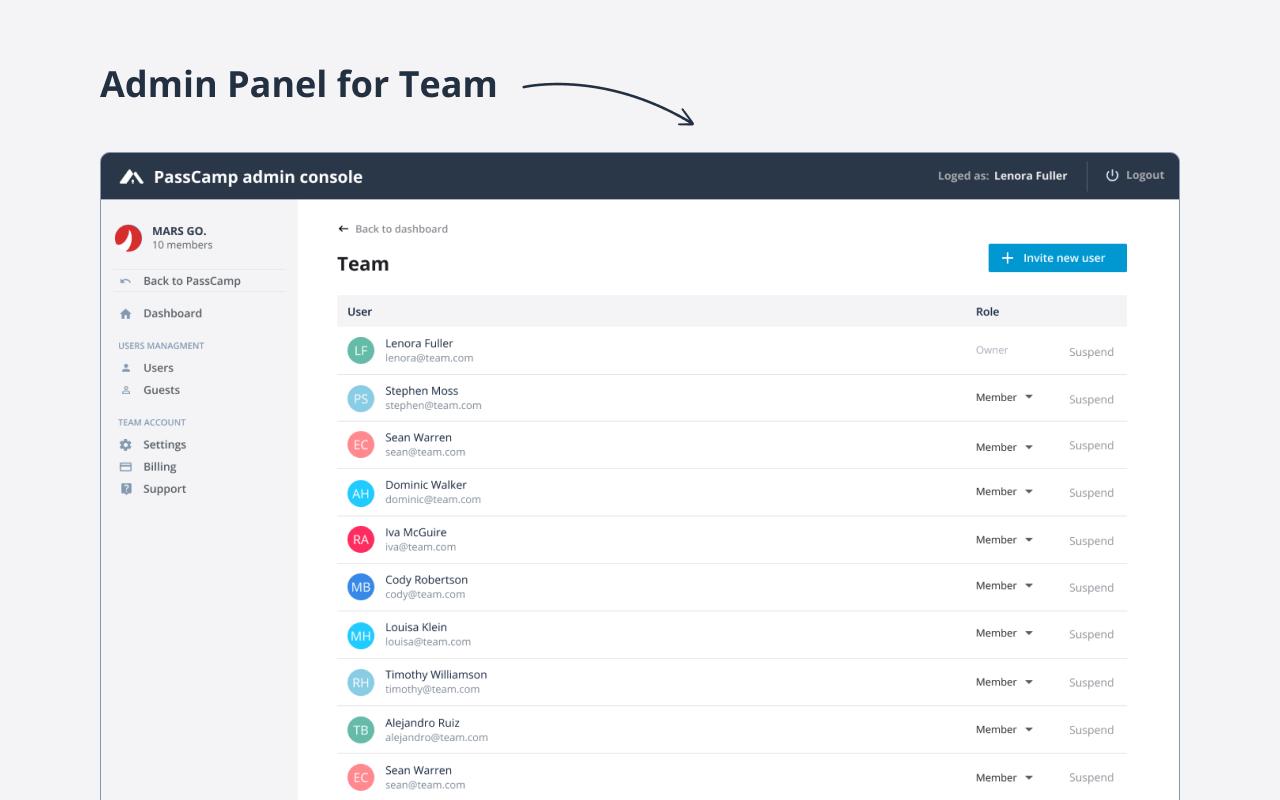 PassCamp admin panel screenshot
