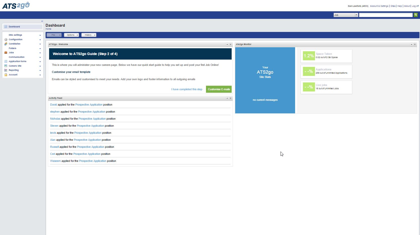 ATS2Go Software - Dashboard