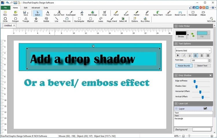DrawPad add text with effects such as drop shadow and bevel