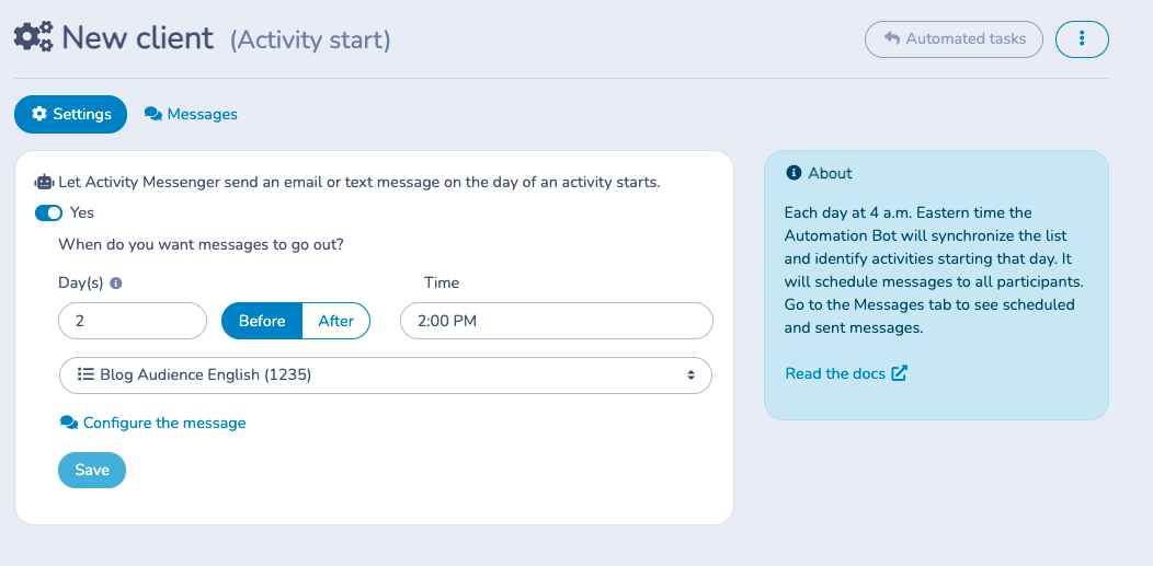 Create automations based on your participants registration status