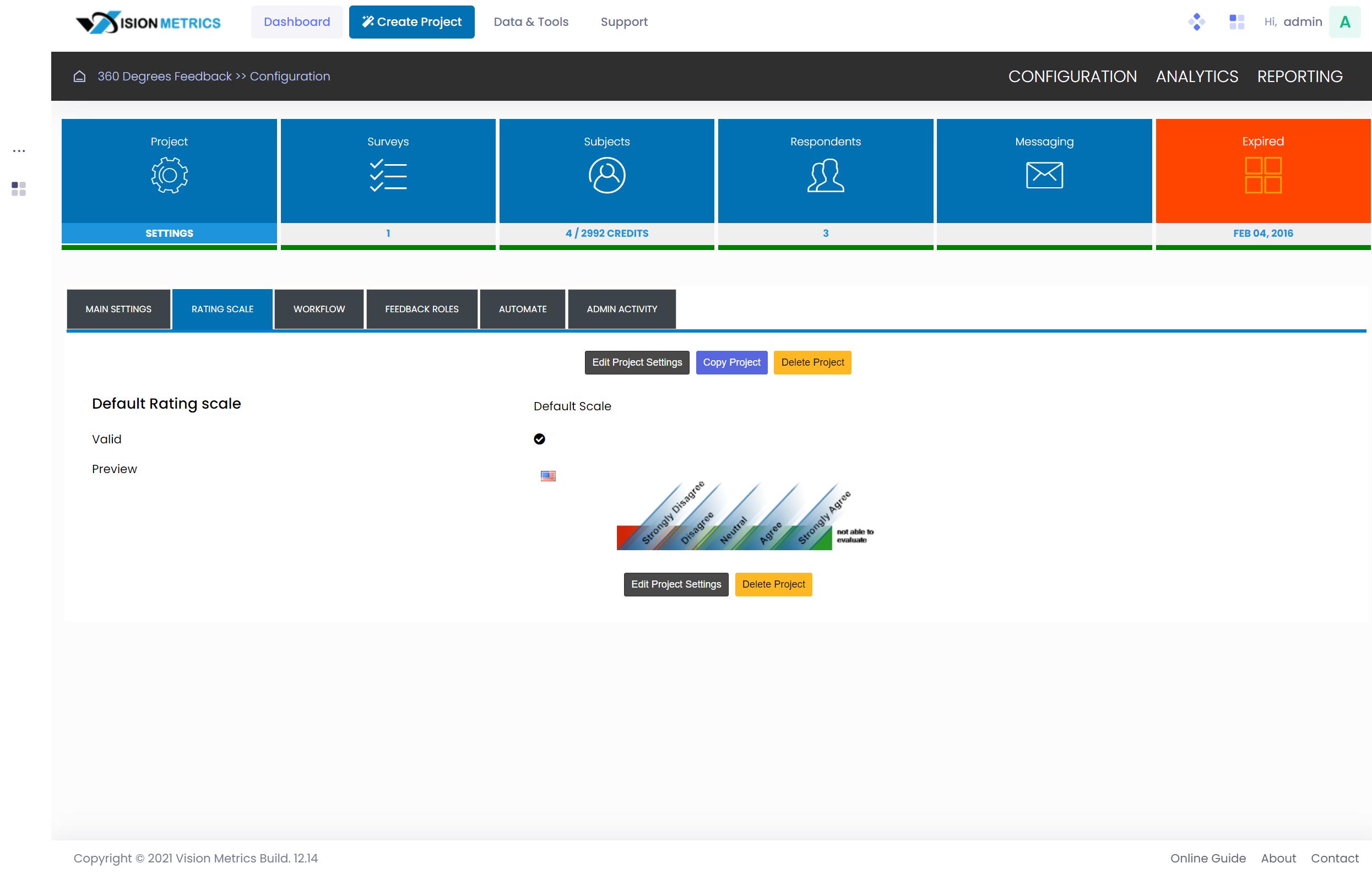 Configure 360 project parameters