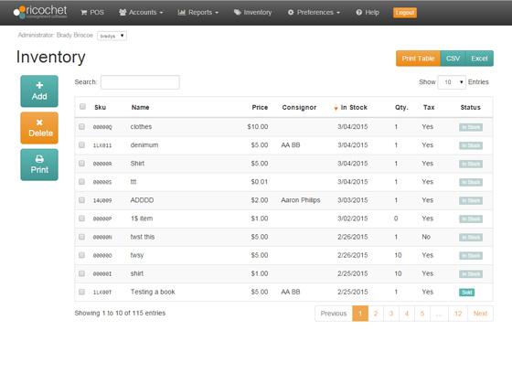 Ricochet Software - Inventory