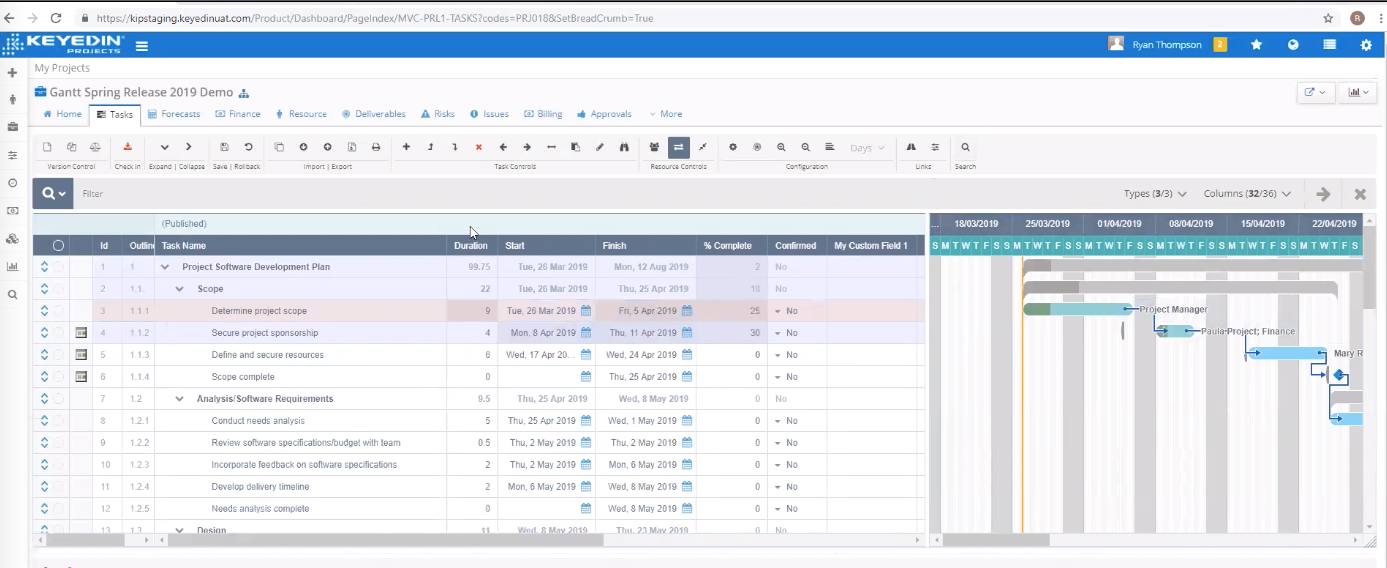 KeyedIn screenshot: Gantt Charts for Project Planning with easy drag-and-drop resource assignments.
