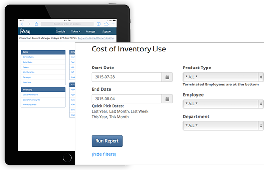 Track inventory with Rosy salon software
