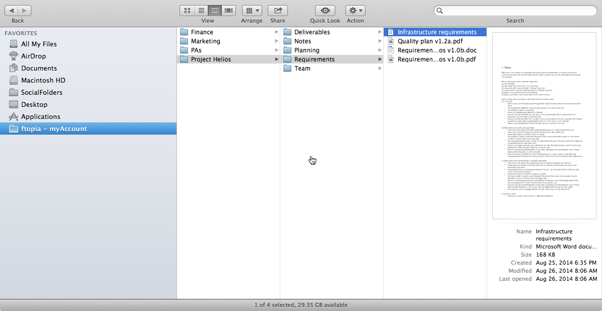 Ftopia screenshot: Desktop sync - files are replicated locally on your machine